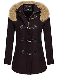 ACEVOG Abrigo parka cálido de invierno con capucha de pelo sintético para mujer