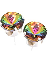 pewterhooter 925 Sterling Silver stud earrings expertly made with Enchanted Forest crystal from SWAROVSKI® for Women. London box.