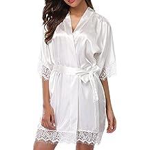Lenfesh Batas Largas Kimono para Mujer Lenceria Ropa de Dormir Camisón de Encaje
