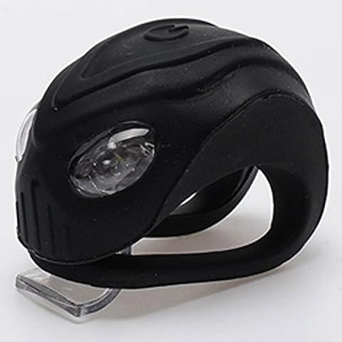 MaMaison007 Impermeable LED bicicleta luces de lámparas de advertencia seguridad bicicleta ciclismo delantero trasero cola semáforos-negro