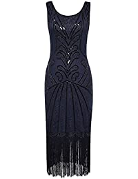 PrettyGuide Women 1920s Vintage Beads Art Deco Inspired Cocktail Flapper Dress