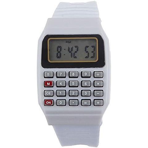 Tongshi Unsex silicona Multiuso Fecha Hora de Pulsera Electrónica Calculadora Reloj(blanco)
