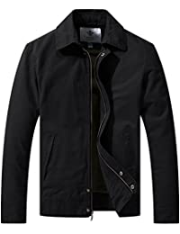 WenVen Men's Casual Long Sleeve Full Zip Jacket with Pockets