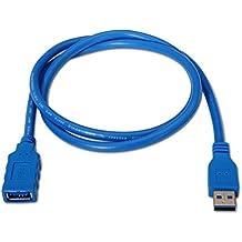 NanoCable 10.01.0902-BL - Cable USB 3.0 prolongador, tipo A/M-A/H, macho-hembra, azul, 2mts