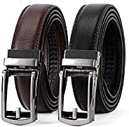 Leather Ratchet Dress Belt for Men Perfect Fit Waist Size Up to 130cm with Automatic Buckle