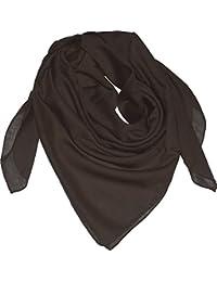 braunes Baumwolltuch uni Schal fein gewebt 100x100 BRAUN Halstuch einfarbig Tuch