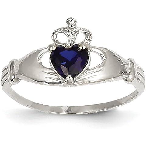 14k oro bianco CZ Settembre Birthstone Claddagh anello del cuore size 23