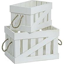 Juego De 2 blanco Caja madera Cajas de manzana Vintage Dekokisten Caja de vino Cajas de vino Caja de almacenamiento Caja dominante