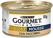 Purina Gourmet Gold Umido Gatto Mousse con Tacchino, 24 Lattine da 85 g Ciascuna, Confezione da 24 x 85 g