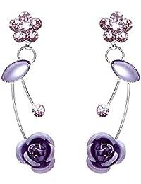 Glamorousky Elegante Lila Rose Ohrringe Mit Lila Austrian Elements -Kristallen Und Kristallglas (759)