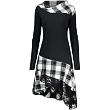 iBaste Shirtkleid Damen Langarm Plaid Dress Rollkragenkleid Asymmetrisches  Kleid mit Kariert Minikleid 76857d9e06