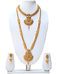 Swaraj Creation Gold Plated Copper Traditional Haram Necklace Set For Women