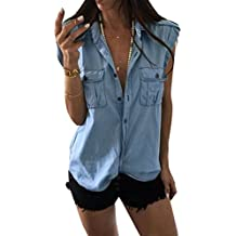 5 ALL Damen Beiläufige Jeansweste Denim Sommer Weste Jacke Ärmellos Umlegekragen Lose Button Down Blusen Vest Tunika Tops Shirt Blazer