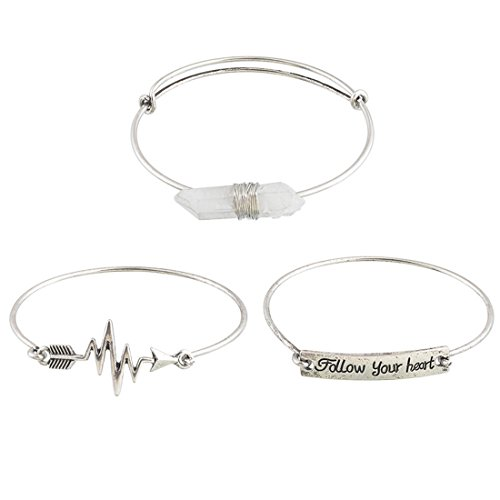 *MJARTORIA Damen Armband Silver Farbe Armreif mit Gravur Freundschaftsarmband 3 Stück*