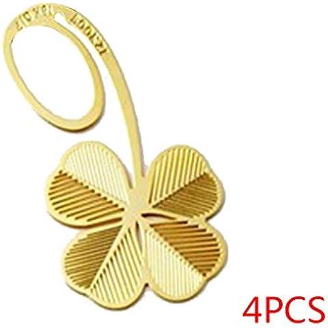 Vollter 4 pezzi Nuovo Four Leaf Clover classica sposa laurea regalo segnalibro del metallo - Four Leaf Clover Regalo
