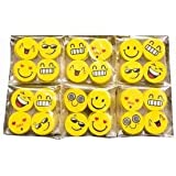 Emoji Smile Face Pencil Erasers For Birthday Party Return Gift / Return Gift Set / Birthday Return Gift In Bulk By - Shararat Nights (Pack Of 20 Each Pack Contain 4 Erasers)