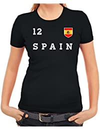 T-Shirt Damen Spain Skull WM 2018 Fussball Frauen Spanien World Cup Espana S-XL