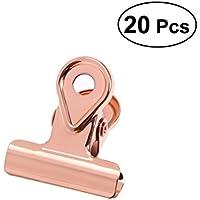 Toymytoy - Clips de metal para perro, 20 unidades, 20 mm, abrazaderas para fotografías, archivos de dinero para organizar el hogar, oficina, uso (oro rosa)