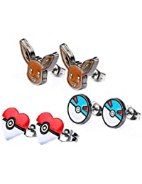 Pokemon Eevee & Pokeballs Stud Earrings, ...