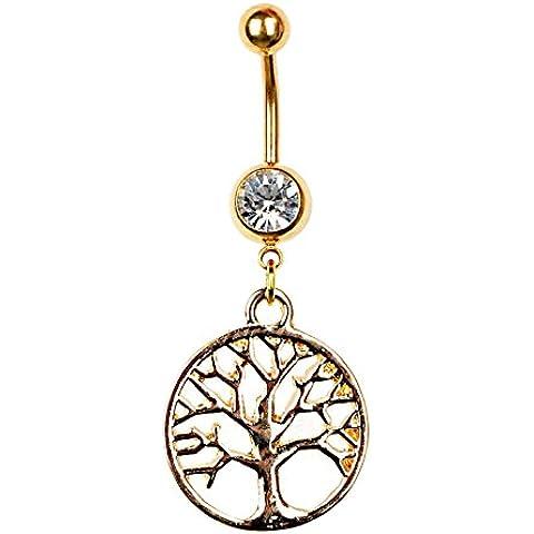 iDealhere Anillo Piercing de Ombligo árbol Acero Inoxidable Joyería