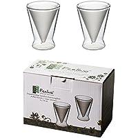 Vasos en punta de doble pared, 2 x 70 ml, exterior/interior satinado, modernos, elegantes e ideales para tu espresso.