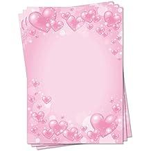 Motivpapier Briefpapier Blumen-5088 DIN A4 100 Blatt schön rote Ranken Herzen