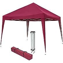 TecTake Gazebo plegable jardín fiesta tienda de campaña carpa pabellón 3x3 m con funda de transporte - disponible en diferentes colores - (Rojo   No. 401622)