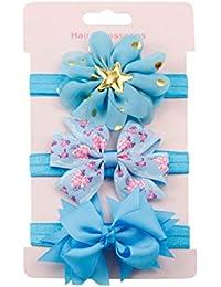K-youth® 3 Pcs Diademas Bebé Arco del pelo de la venda elástico Bebé Cinta Para El Pelo Infantil Algodón Sólido Mariposa Niñas Banda Para La Cabeza Diadema (Azul)