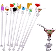 Novelty Cocktail Swizzle Stirrer Sticks, Set of 10 Colorful Acrylic Cocktail Fruit Juice Drink Mixer Stirring Spoon 9Inch