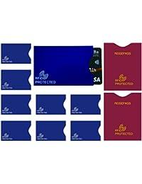 MONVENDO RFID NFC Schutzhüllen Flysecure 10-teilig Blau Bordeauxrot