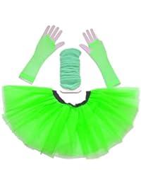 Just 4 Fun Leisurewear Neon Green 3 Layer Tutu Set, Leg Warmer & Fishnet Gloves Size 8 To 16