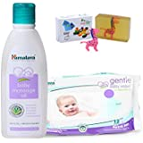 Himalaya Herbals Baby Massage Oil (200ml)+Himalaya Herbals Gentle Baby Wipes (12 Sheets) With Happy Baby Luxurious Kids Soap With Toy (100gm)