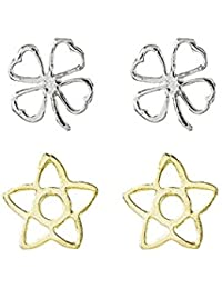 Córdoba Jewels |Set de pendientes en plata de Ley 925 bañada en oro. Diseño Set Pendientes Trébol de la Suerte y Estrella Oro