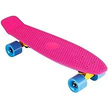 """Floureon Monopatín Skateboards Retro de Crucero Estilo (22"""" Pulgadas, Tabla Plástica, Rueda PU de 60MM, ABEC-7 Rodamiento, Camión Rueda de Aluminio, Para Adolescentes), Rosa"""