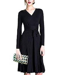 20882d51cbfab4 Oudan Frauen Plissee Dress Herbst elegant Gestrickte Langarm Midi Kleider  (Farbe : Schwarz, Größe…