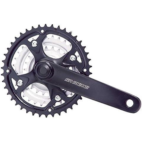 SR-SUNTOUR Guarnitura 48 / 38 / 28 denti Pedivella 170mm - 7 / 8-Velocità COMPATIBILE SHIMANO per bicicletta MOUNTAIN BIKE