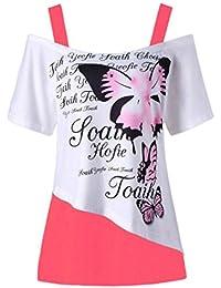 da0f77695211 IMJONO Damen Women Butterfly Druck Off Schulter Hemd Kurzarm Casual Top  Bluse