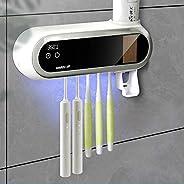 جهاز تعقيم فرشاة الاسنان بمصباح ليد والاشعة فوق البنفسجية، مع حامل للفرشاة وموزع للمعجون في قطعة واحدة، يثبت ب