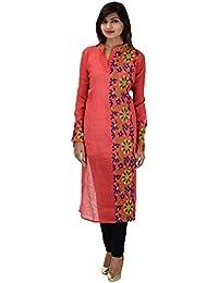Antarnaad Women's Chanderi Straight Chikankari Semi Stitched Dress Material (AP0119, Red Peacock)