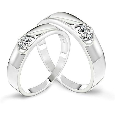 AieniD Joyas de Moda Parejas de Plata Anillos de Compromiso Corazón S925 Plata de Ley Plata Blanco CZ Alianzas de