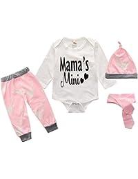 Infant Toddler Newborn Baby Boys Girls Deer Romper + Pant + Hat 4PCS Outfit Set