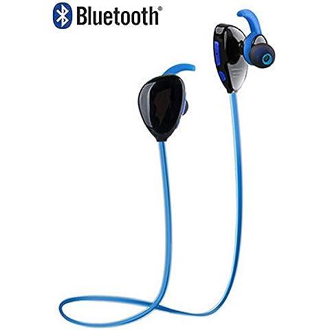 AntilaTech Wireless Bluetooth 4.1 Sports Headset con aptX® Audio & CVC Noise Cancellation, microfono, in profondità bassi, vivavoce, Sweat-Proof Tangle-Free, In-orecchio, stereo Orecchio Gemme/Auricolare/cuffie per lo sport e appassionati di musica - adatto a dispositivi Bluetooth come ad esempio iOS/ Windows/Android Smartphone /Tablet, laptop e la maggior parte degli altri fonti audio Bluetooth (Blue/Black)