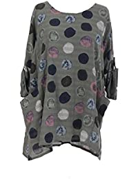 bc1a9454e2b New Italian Ladies Women Lagenlook Polka Dots Cotton Tunic Top Plus Size  16-24