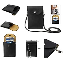 DFV mobile - Universal Litchi Texture Leather Case Pocket Sleeve Bag with Lanyard for Tablet and Smartphone for => THL W100 > Black