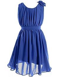 Fashion Plaza Chiffon Mädchen Kleid A-line Scoopsausschnitt Blumenmädchenkleid K0081