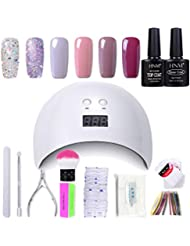 Gel Nail Polish HNM 6 Gel Nail Starter Kit with 24W LED Curing Lamp Base and Top Coat UV LED Soak Off Nail Polish Remover Wrap Manicure Tools Gift Set