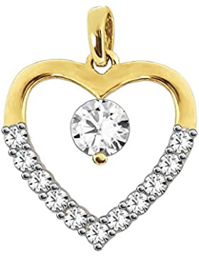 CLEVER SCHMUCK Goldener Anhänger Herz symmetrisch mit großem Zirkonia mittig, offene From, viele Zirkonias auf...