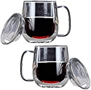 Lushh Set of 2Pcs Double Wall Insulated Glass With Lid, Heat Resistant Transparent Thermal Mug, Coffee Cup Off
