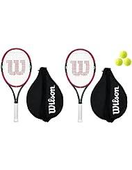 Wilson Federer 26 - Raquetas de tenis (2 unidades y 2 fundas, incluye 3 pelotas)