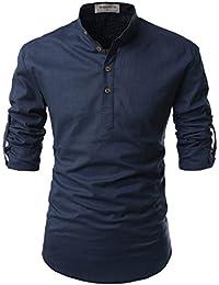 2dced617 Nearkin Men Henley Neck Roll Up Solid Long Sleeve Linen Stand Collar Shirts